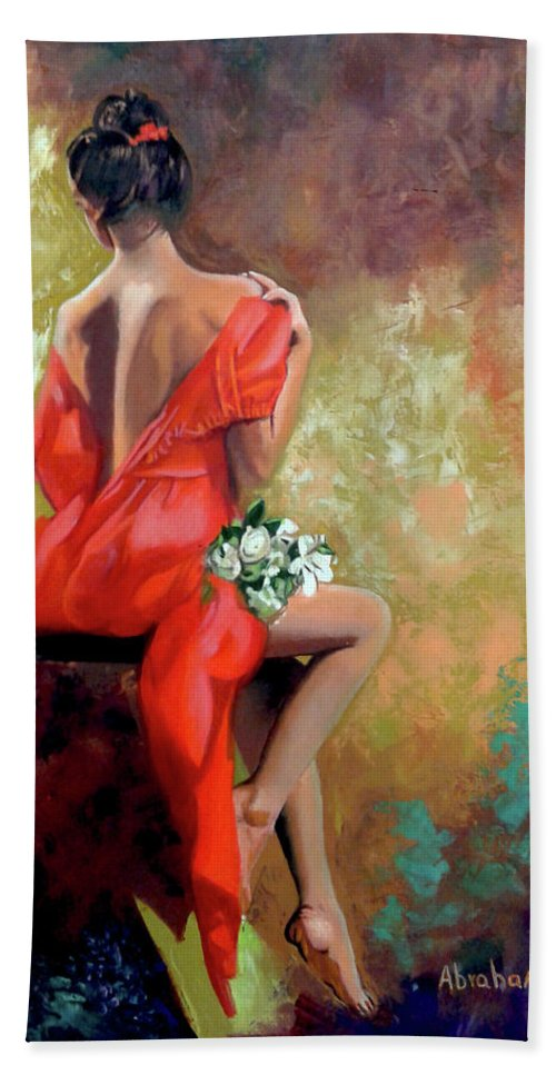 Women Bath Towel featuring the painting Red Lady 2 by Jose Manuel Abraham