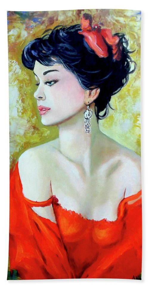 Lady Bath Towel featuring the painting Red Lady by Jose Manuel Abraham
