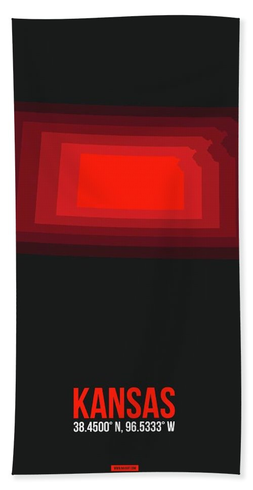 Hand Towel featuring the digital art Red Map Of Kansas by Naxart Studio
