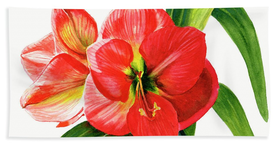 Red Bath Towel featuring the painting Red Orange Amaryllis Square Design by Sharon Freeman