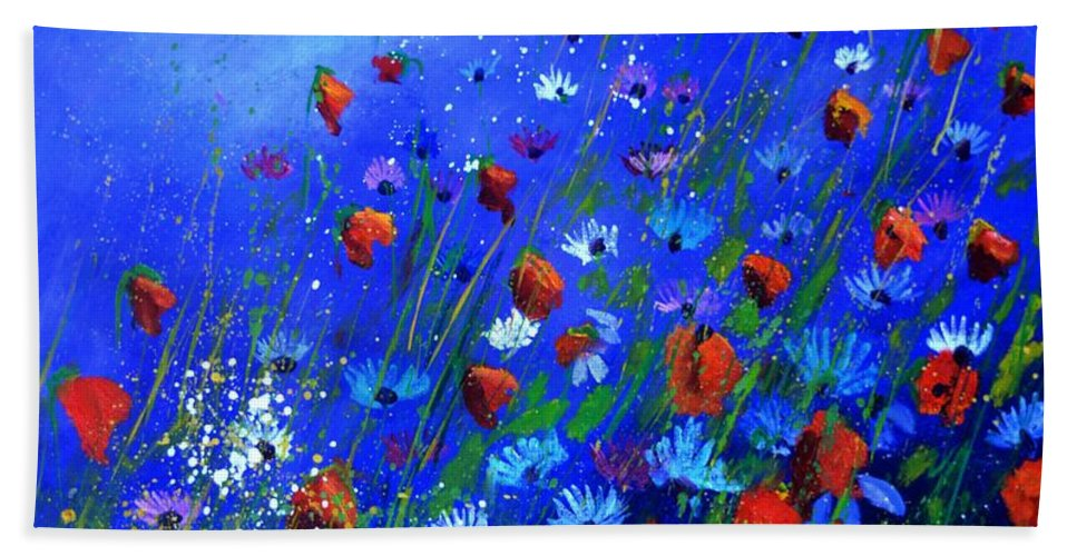 Poppies Hand Towel featuring the painting Red Poppies Ab Blue Cornflowers by Pol Ledent