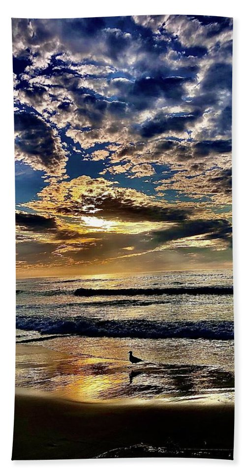 Sunsets Hand Towel featuring the photograph Reflecting On The Day by Michael Klahr