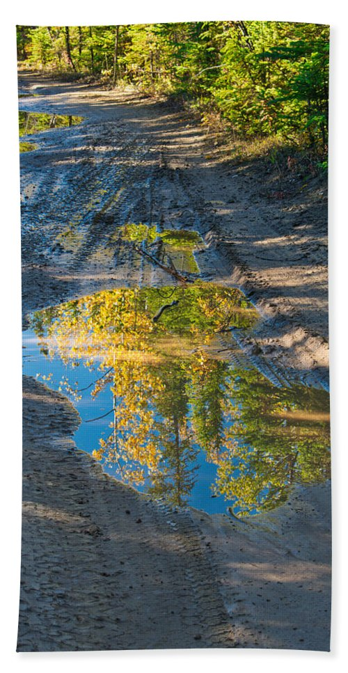 Reflections Of The Fall Hand Towel featuring the photograph Reflections Of The Fall by Cathy Mahnke