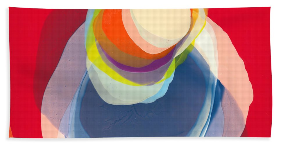 Abstract Bath Towel featuring the painting Reflective by Claire Desjardins