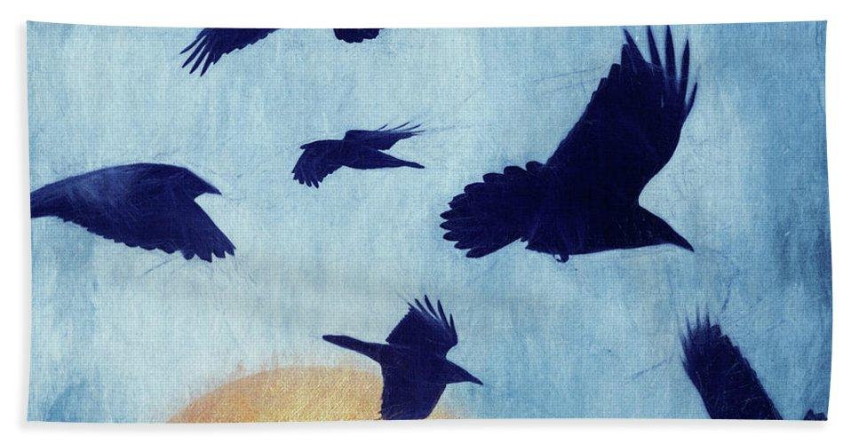 Ravens Bath Towel featuring the photograph Restless by Priska Wettstein