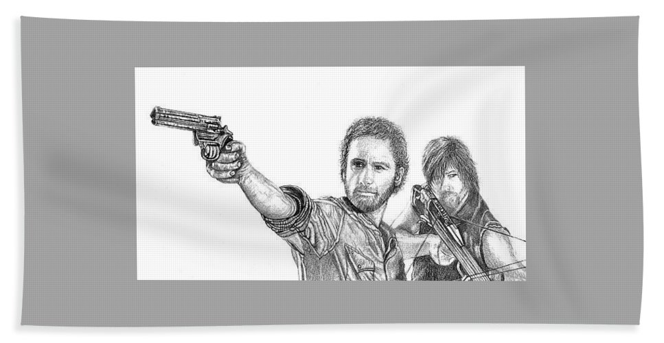 The Walking Dead Bath Sheet featuring the drawing Rick And Daryl by Jennifer Campbell Brewer
