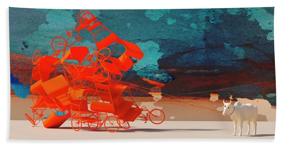 Rickshaw Hand Towel featuring the digital art Rickshaw Pileup and Cow by Heike Remy