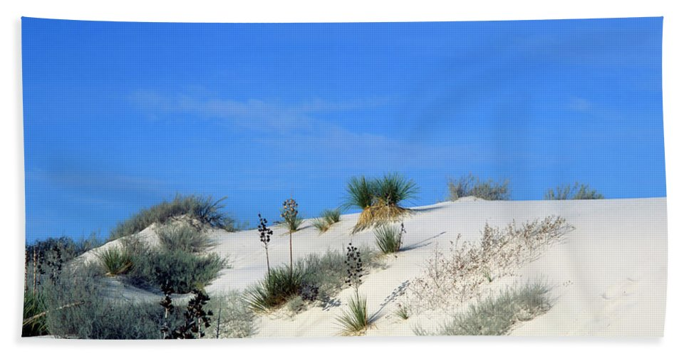 Background Bath Sheet featuring the photograph Rippled Sand Dunes In White Sands National Monument, New Mexico - Newm500 00106 by Kevin Russell