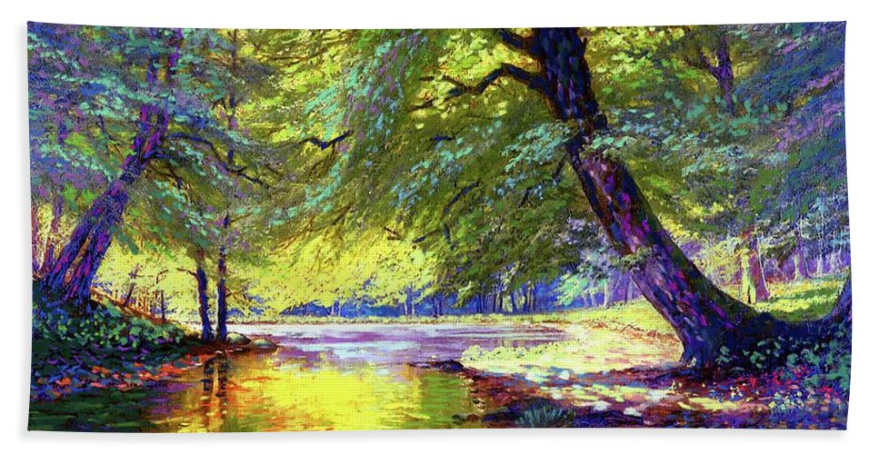 Forest Bath Towel featuring the painting River Of Gold by Jane Small