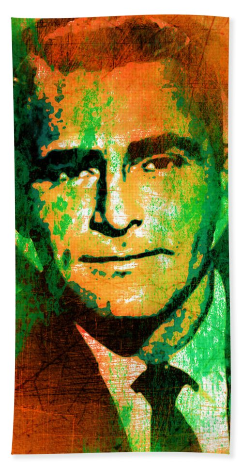 The Twilight Zone Hand Towel featuring the digital art Rod Serling - The Twilight Zone by Jonathan Palgon