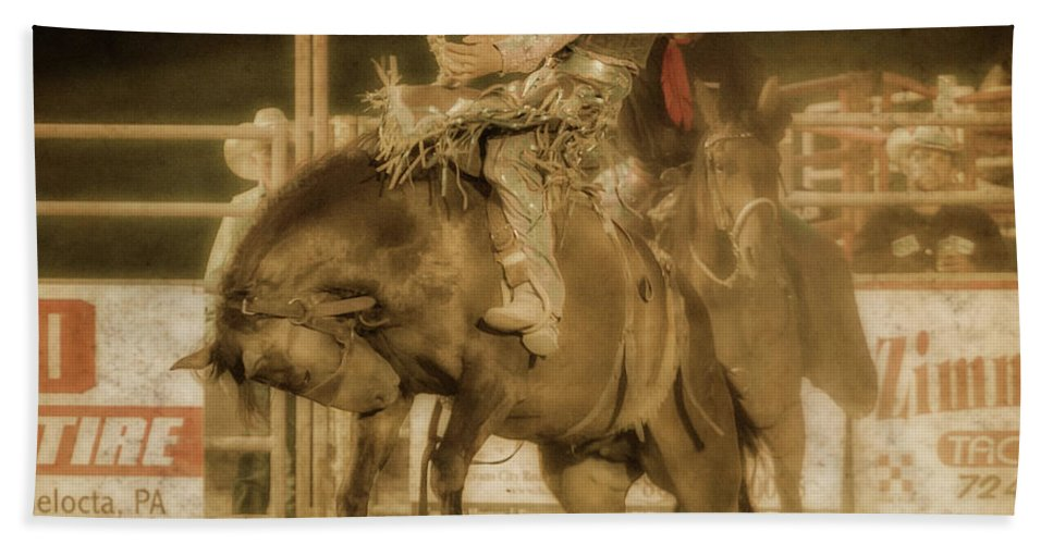 Rodeo Rider Bronco Busting Hand Towel featuring the digital art Rodeo Rider Bronco Busting Sepia One by Randy Steele
