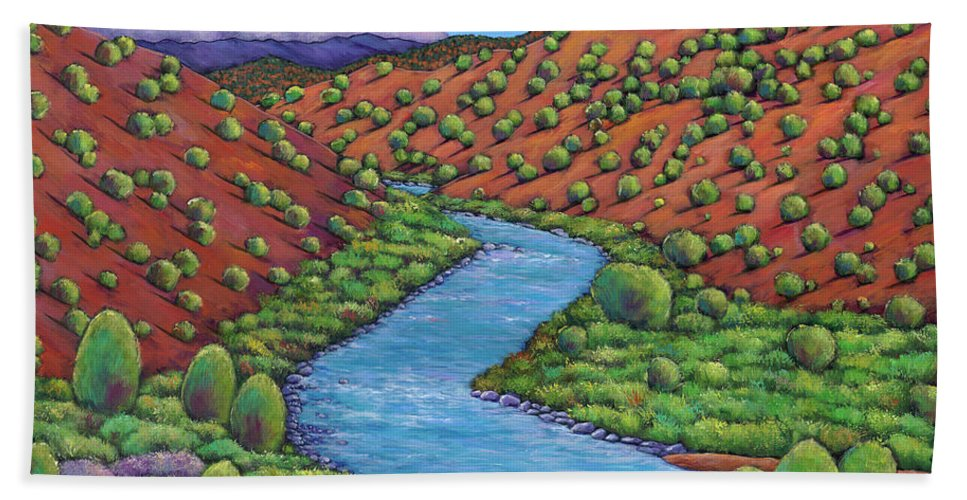 Landscape Bath Towel featuring the painting Rolling Rio Grande by Johnathan Harris