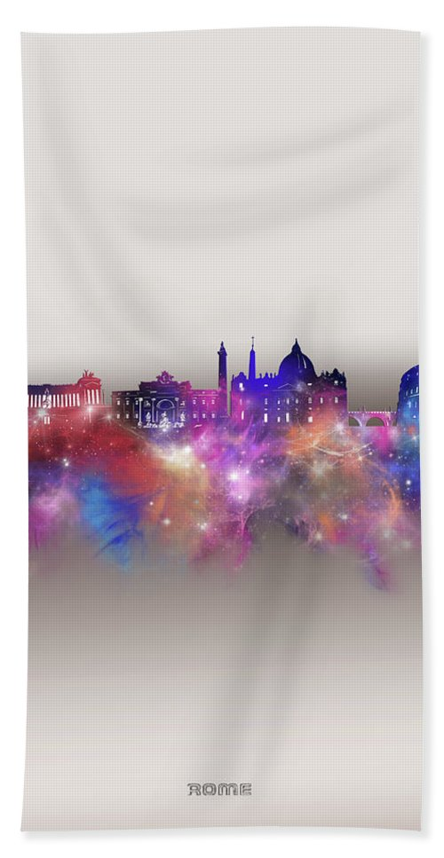 Rome Bath Towel featuring the digital art Rome Skyline Galaxy by Bekim M