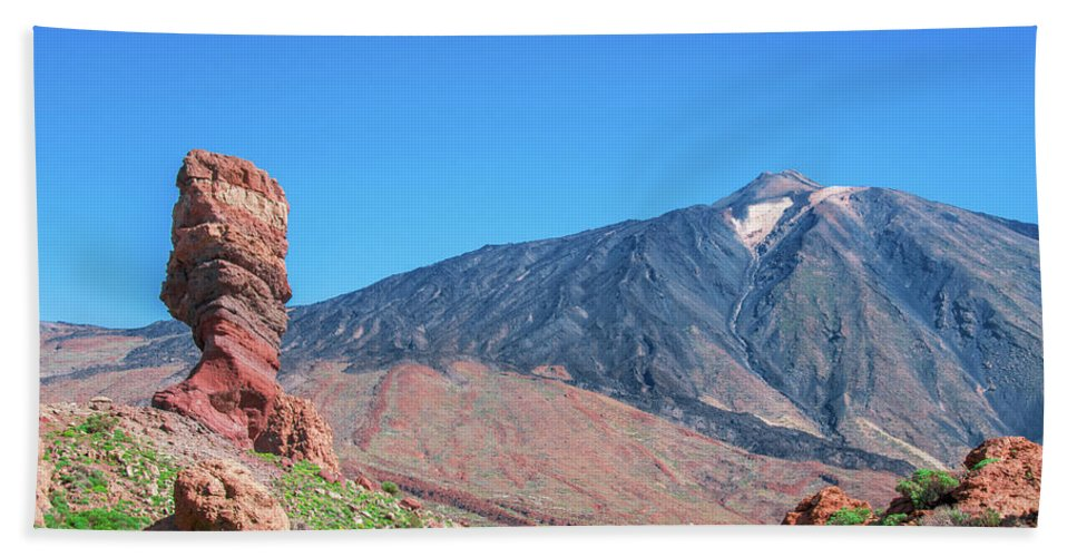 Mountains Hand Towel featuring the photograph Roque Cinchado In Front Of Mount Teide by Sun Travels