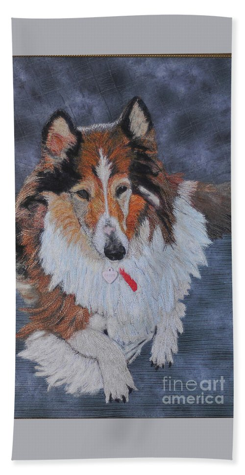 Rough Collie Bath Towel featuring the tapestry - textile rough Collie by Dolores Fegan