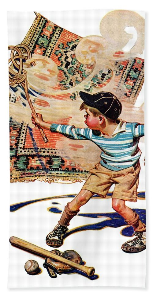 Baseball Bath Towel featuring the drawing Rug Beater by J.c. Leyendecker
