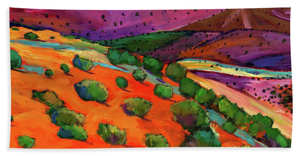 New Mexico Hand Towel featuring the painting Sage Slopes by Johnathan Harris