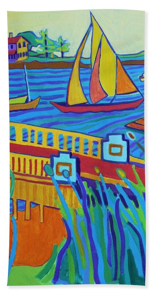 Landscape Hand Towel featuring the painting Sailing at Tucks Point Manchester by the sea by Debra Bretton Robinson