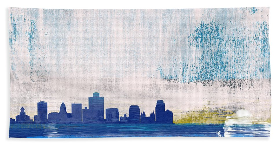 Salt Lake City Hand Towel featuring the mixed media Salt Lake City Abstract Skyline I by Naxart Studio
