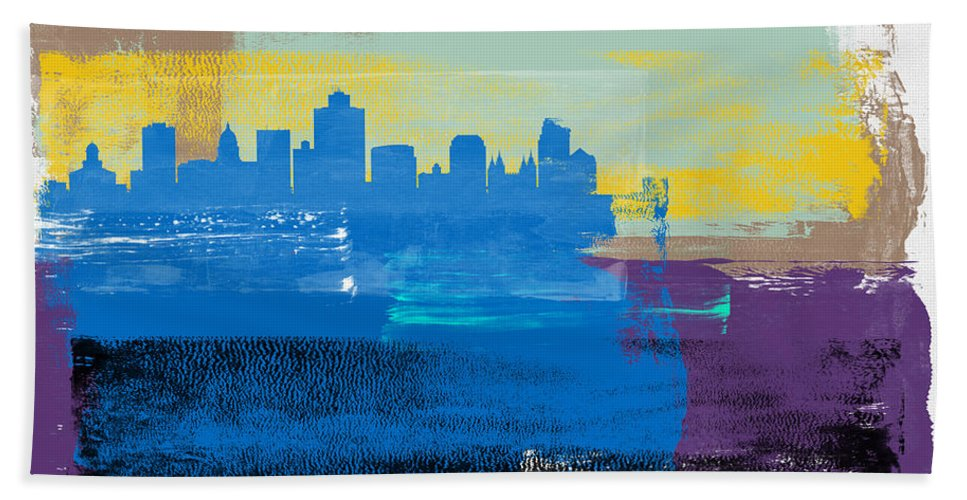 Salt Lake City Hand Towel featuring the mixed media Salt Lake City Abstract Skyline II by Naxart Studio