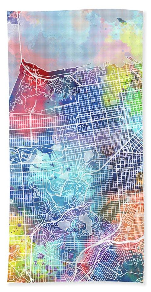 San Francisco Hand Towel featuring the digital art San Francisco Map Watercolor by Bekim M