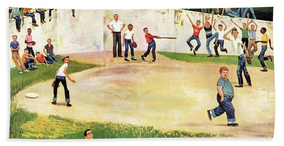 Baseball Bath Towel featuring the drawing Sandlot Homerun by John Falter