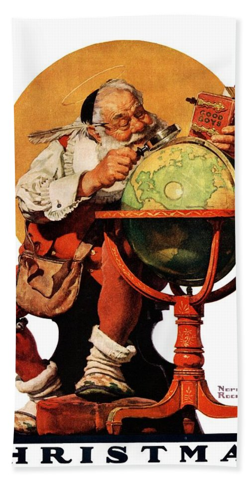 Globes Bath Towel featuring the drawing Santa At The Globe by Norman Rockwell