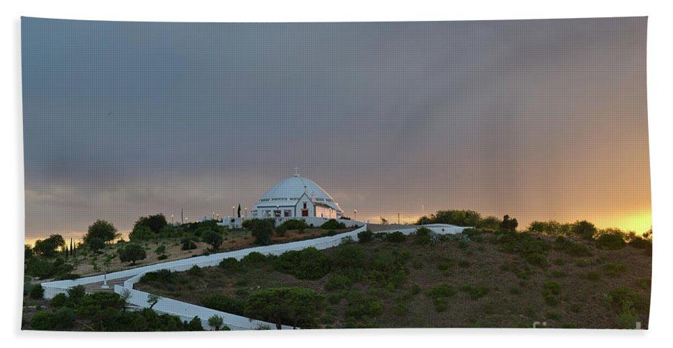 Mae Soberana Hand Towel featuring the photograph Santuario De Nossa Senhora Da Piedade Welcoming Twilight In Loule by Angelo DeVal