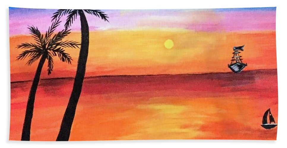 Canvas Bath Towel featuring the painting Scenary by Aswini Moraikat Surendran