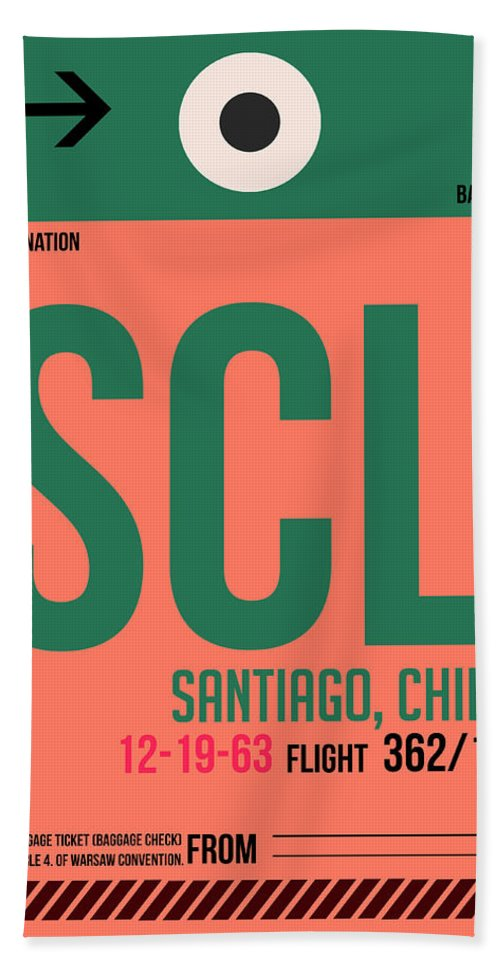 Vacation Hand Towel featuring the digital art Scl Santiago Luggage Tag I by Naxart Studio