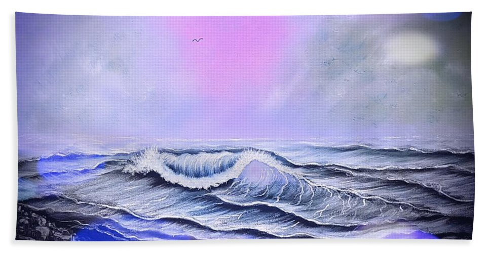 Blue Bath Towel featuring the painting Seascape Enchantment Glow Stardust Blue by Angela Whitehouse