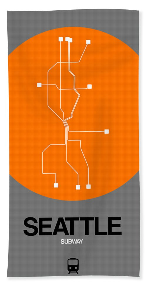 Seattle Hand Towel featuring the digital art Seattle Orange Subway Map by Naxart Studio