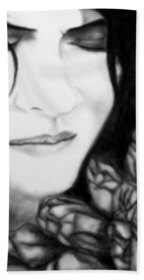Art Bath Towel featuring the drawing Self-reflection by Glory Fraulein Wolfe