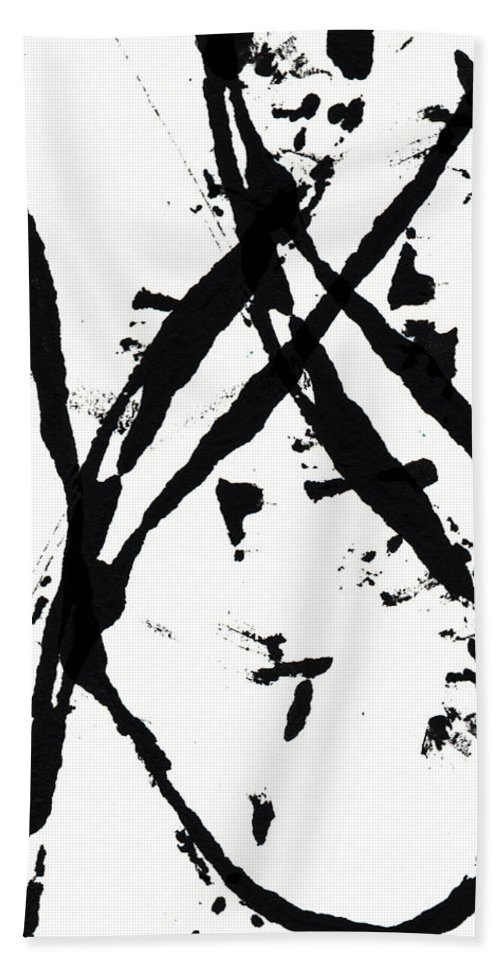 Abstract Bath Towel featuring the painting Shadow Abstract 1- Art by Linda Woods by Linda Woods