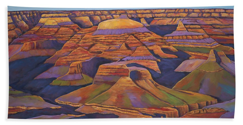 Grand Canyon Hand Towel featuring the painting Shadows And Breezes by Johnathan Harris