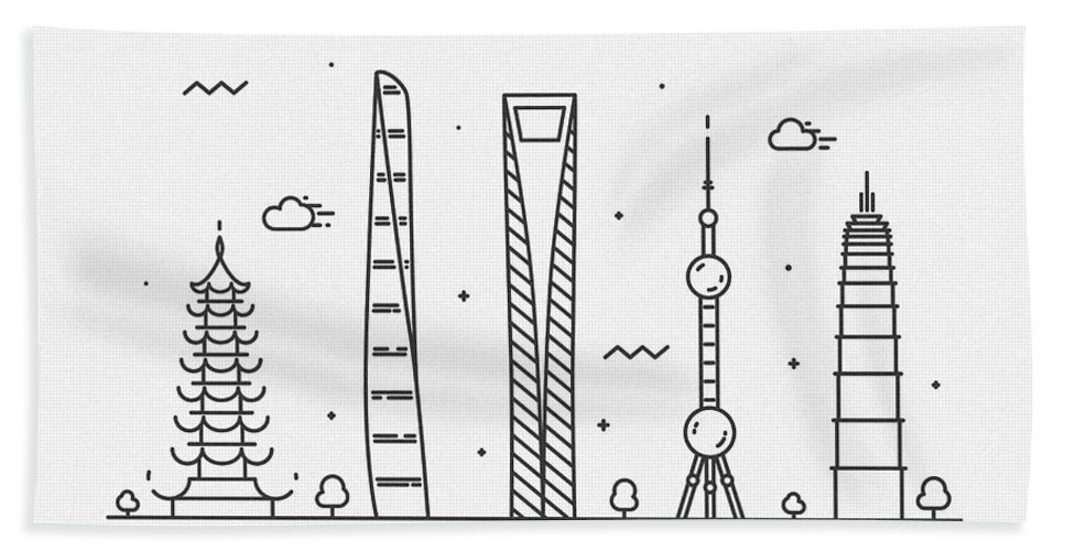 Shanghai Bath Towel featuring the drawing Shanghai Cityscape Travel Poster by Inspirowl Design