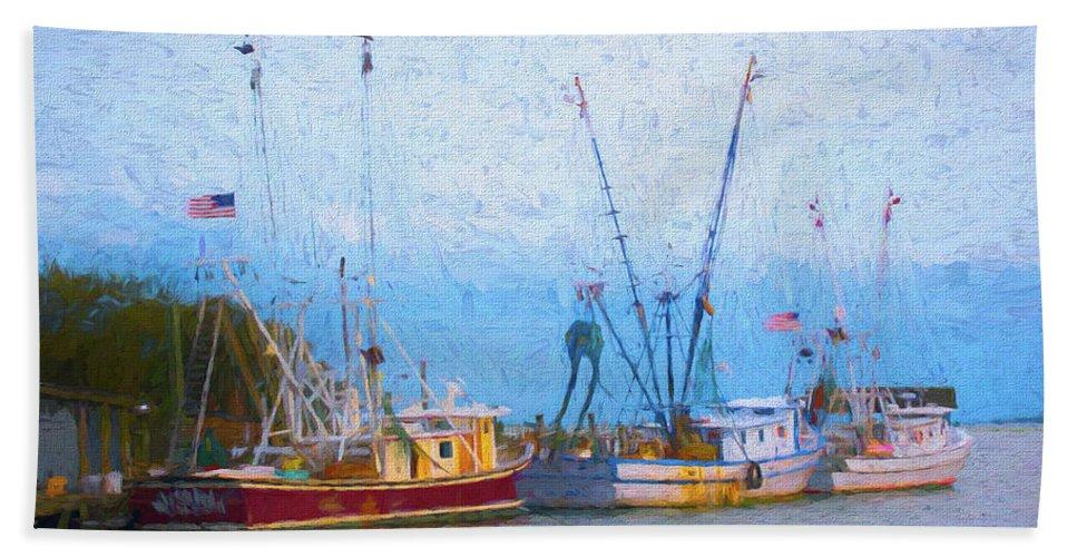 Ocean Bath Towel featuring the digital art Shem Creek Boats V by Jon Glaser