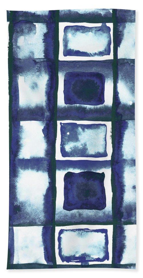 Shibori Bath Towel featuring the mixed media Shibori Box Pattern II by Elizabeth Medley