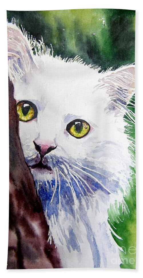 Little Hand Towel featuring the painting Shy One by Suzann Sines