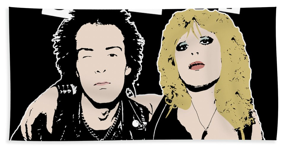 Sid And Nancy Hand Towel featuring the digital art Sid And Nancy by Valentina Hramov