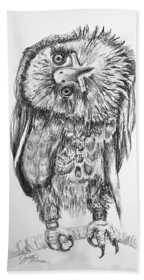 Bald. Eagle Bath Towel featuring the drawing Simba Looking At You by Cynthia Sorensen