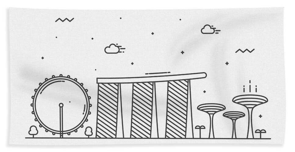 Singapore Bath Towel featuring the drawing Singapore Cityscape Travel Poster by Inspirowl Design
