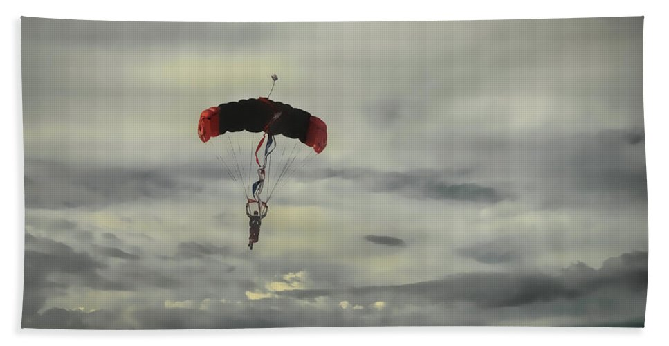 Skydiver Bath Sheet featuring the photograph Skydiver by Dyle Warren