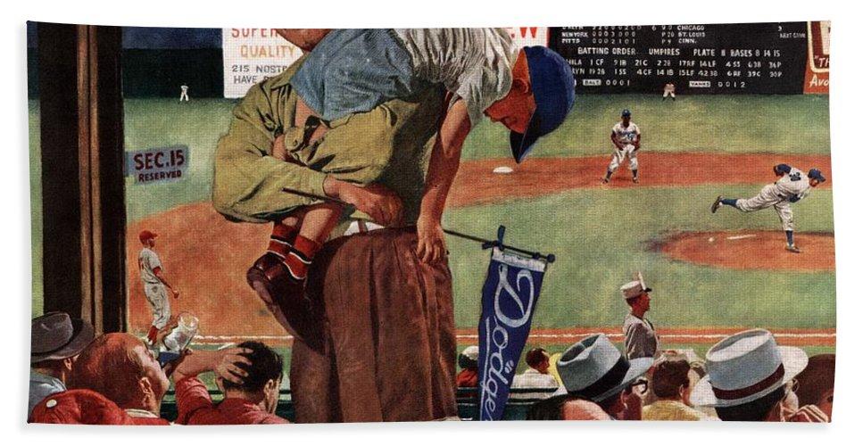 Baseball Bath Towel featuring the drawing Sleepy Inning by Earl Mayan