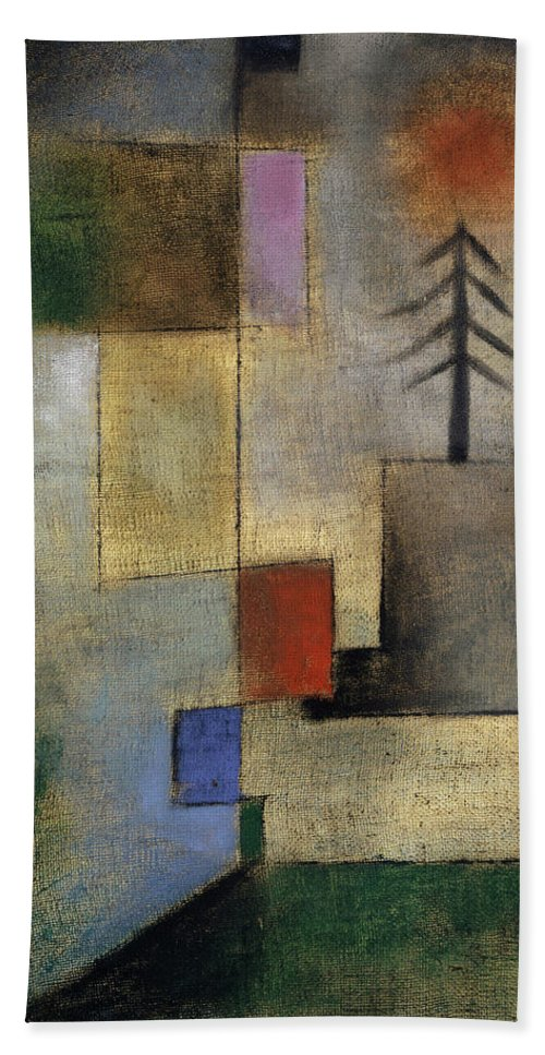 Paul Klee Bath Towel featuring the painting Small Picture of Fir Trees, 1922 by Paul Klee