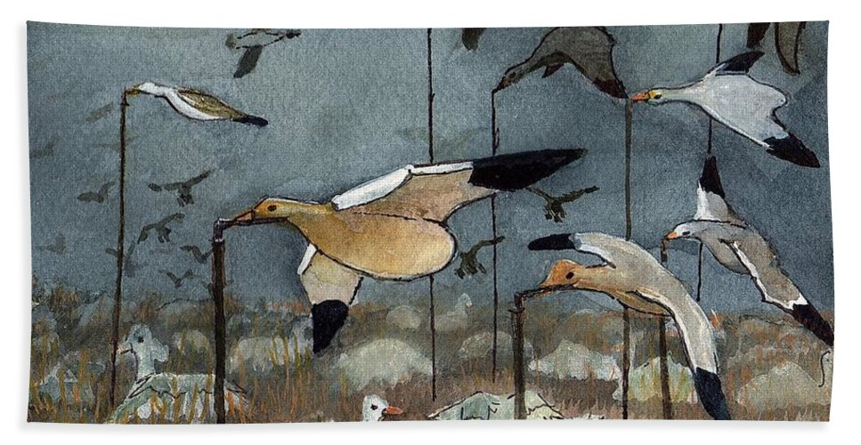 Snow Goose Decoys Hand Towel