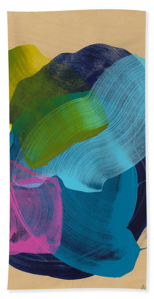 Abstract Hand Towel featuring the painting Socal 02 by Claire Desjardins