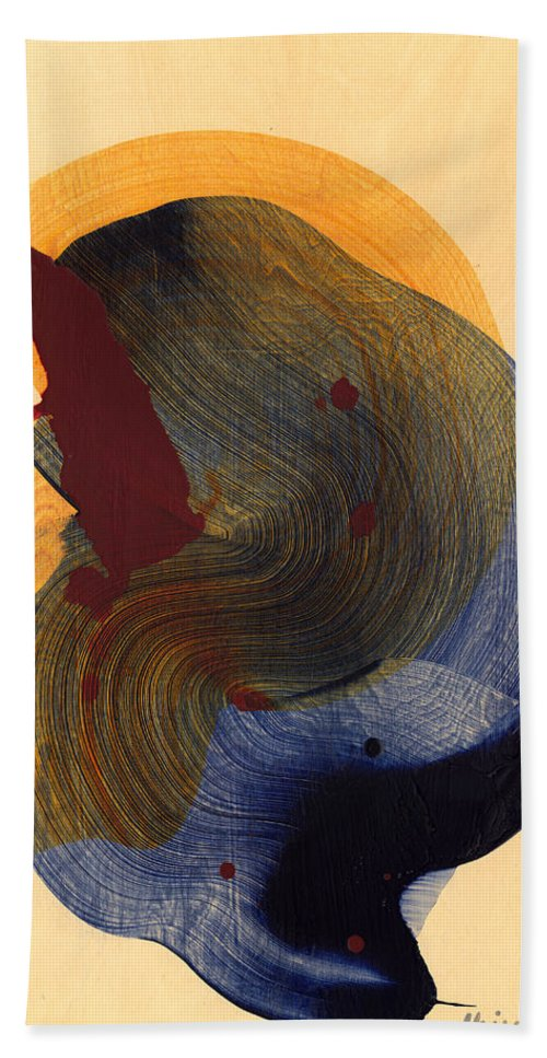 Abstract Hand Towel featuring the painting Socal 03 by Claire Desjardins