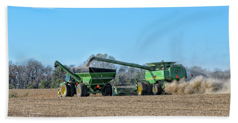 John Deere Hand Towel featuring the photograph Soybean Harvest Max by Jim Thompson