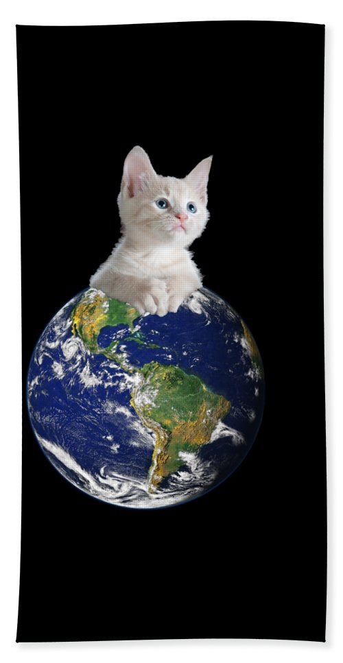 Climate Change Bath Towel featuring the digital art Space Kitten Ruler of Earth Funny by Flippin Sweet Gear